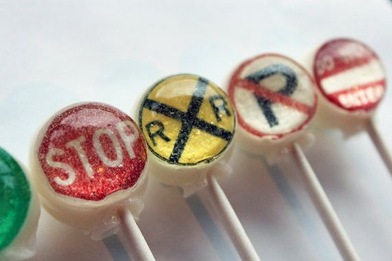 Traffic signs and signals edible art lollipops by Vintage Confections