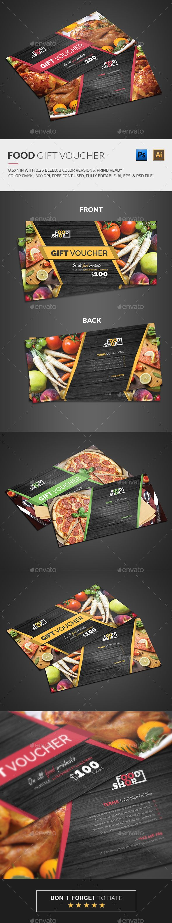 Food Gift Voucher Template PSD, EPS, AI #design Download: http://graphicriver.net/item/food-gift-voucher/13700891?ref=ksioks