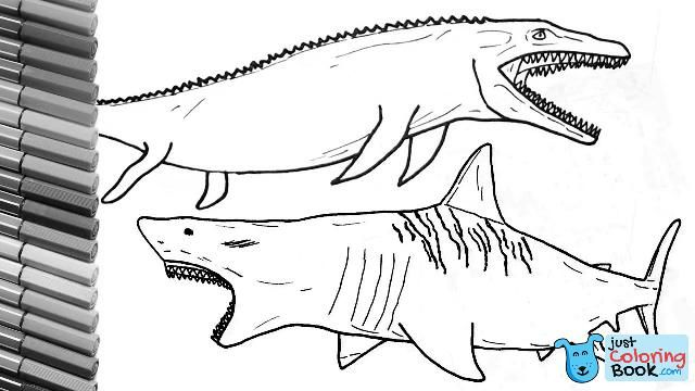 - Megalodon Shark And Jurassic World Mosasaur Dinosaurs Color Pages Drawing  And Coloring Lessons Within Mosasaur Coloring Pages Mexico Bandera,  Bandera