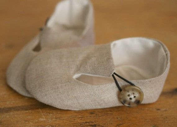 Baby Booties Linen Loafers  for Baby Boy or Girl via Etsy