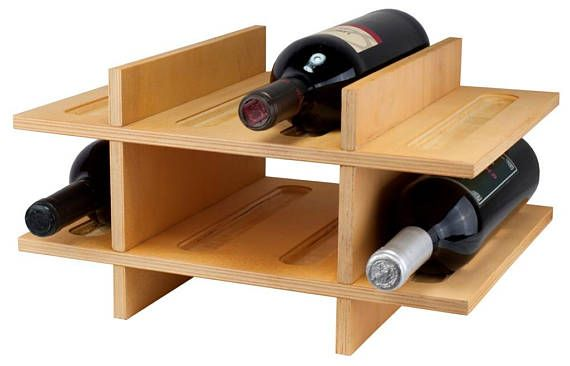 WINE RACK WOOD LAMINATED BIRCH, VARNISHED WITH 2 SHELVES 12/B Practical table with 2 shelves bottle and capacity for 12 bottles of wine or cava. Ideal for home, kitchen or business Product dimensions: 21 x 26 x 28 cm