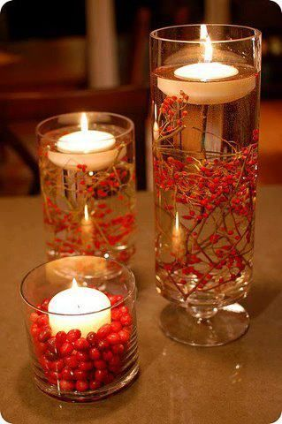 cranberries for fall! Love this looks for centerpieces