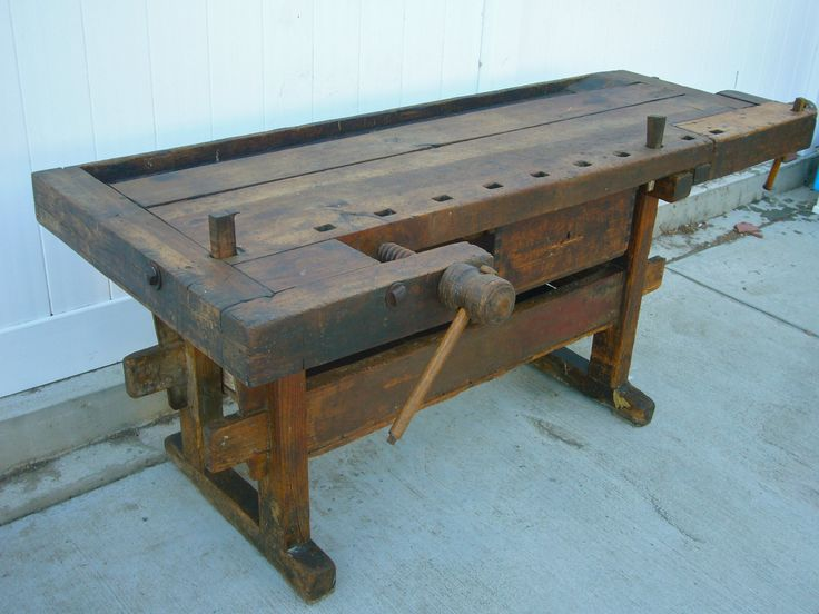 Fabulous antique wooden carpenters workbench with vises