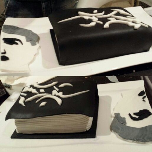 The cake I made for my fathers book release. Made by: Sepideh Hatami #sugarpaste #book cover #collectionofpoetry