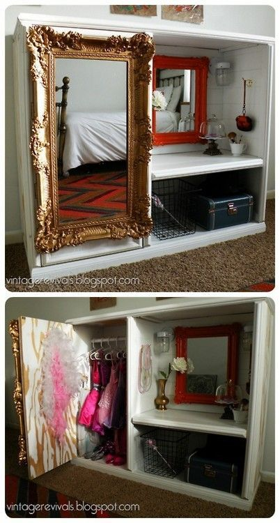 "Dress Up Wardrobe ""Closet"" - the link ""died"" so I updated the image link to a new blogger who posts all the how to's for this cute vanity from an ""entertainment #center #upcycle"