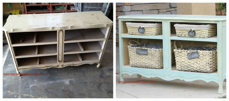 Transform a Dumped Dresser without the Drawers to a beautiful Shelving Unit, using the parts of the dresser as the shelves!