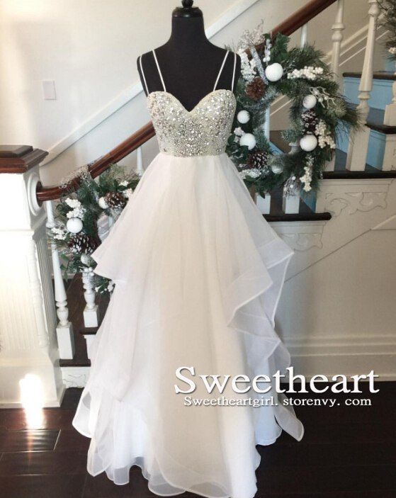 white long prom dress, sequin modest prom dress, sweetheart white long prom…