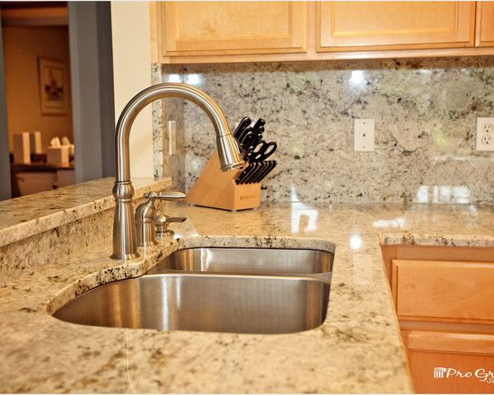 Kitchen Design, Traditional Kitchen Table With Colonial Gold Granite Countertop Also Classic Stainless Faucet And Sink And Comely Wooden Kit...