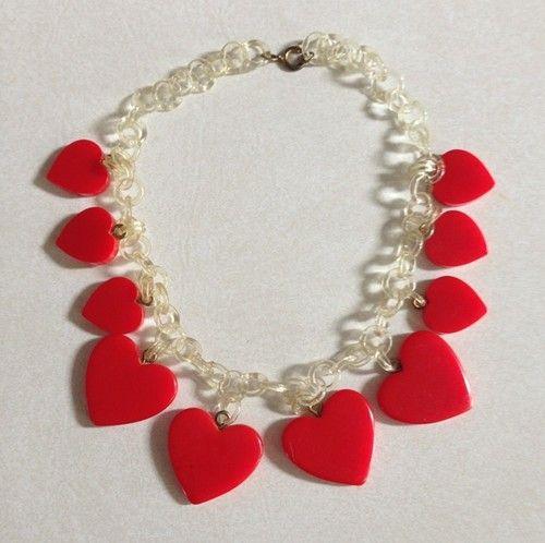 Vintage Bakelite Heart Necklace