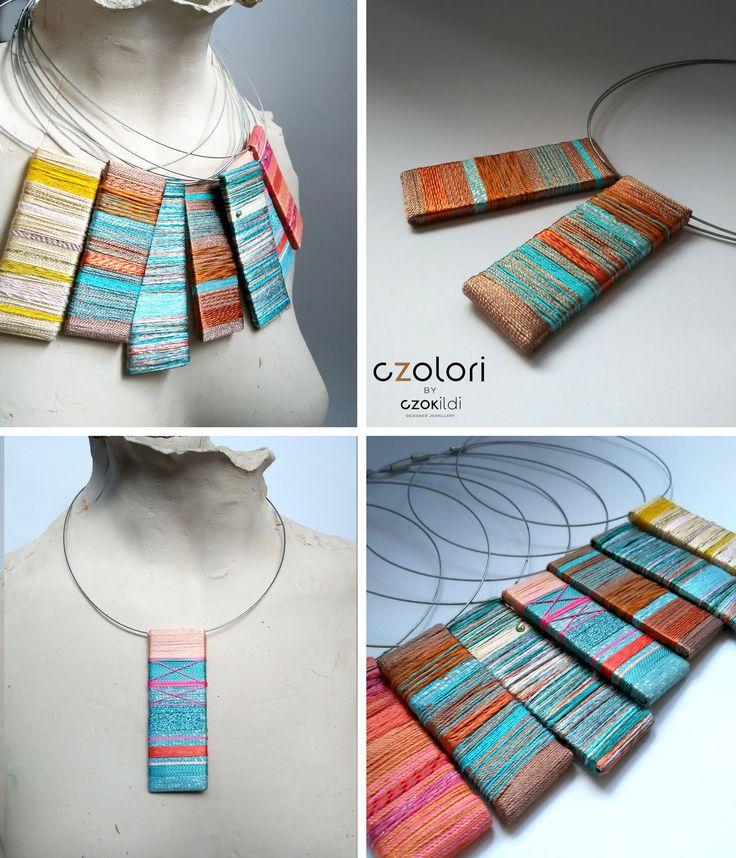 Yarn wrapped jewellery by Czolori http://czokildihu.bigcartel.com/