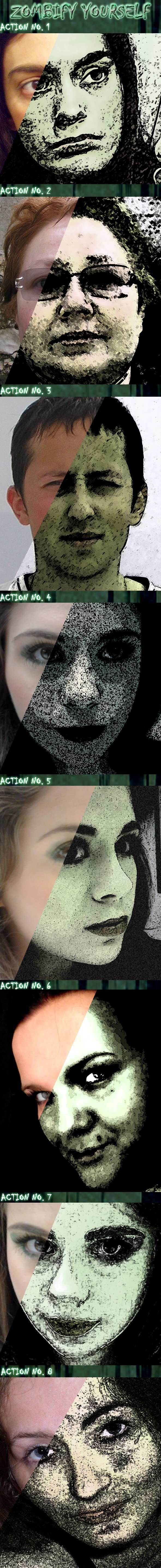 8 'Zombify Yourself' Photoshop Actions