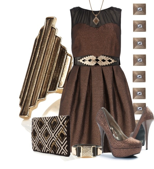 """Bronze Deco Style"" by silverlining07 on Polyvore"