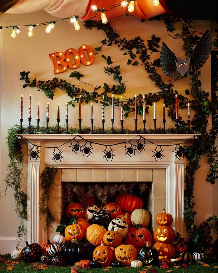did someone say fireplace jack o lanterns amazing halloween decor by target