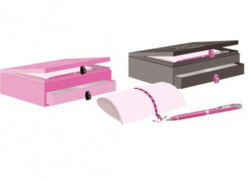 PLAYBOY BOX PORTAGIOIE, PORTALETTERE CON PENNA  Set in cartone rigido con due scomparti portagioie/portalettere/penna-nei colori rosa e nero
