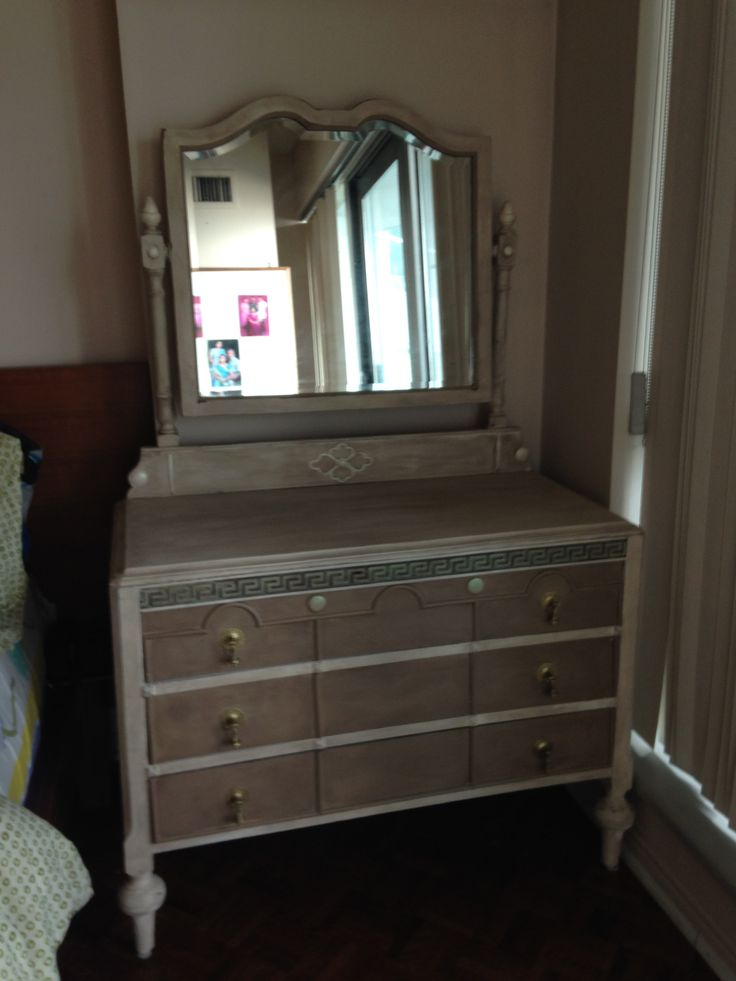 Antique dresser and mirror transformed with van Gogh fossil paints serenity and chalk, finished with french caffeine wax .  SOLD