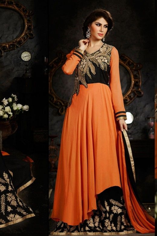 Orange and Black Art Silk and Faux Georgette Anarkali Suit