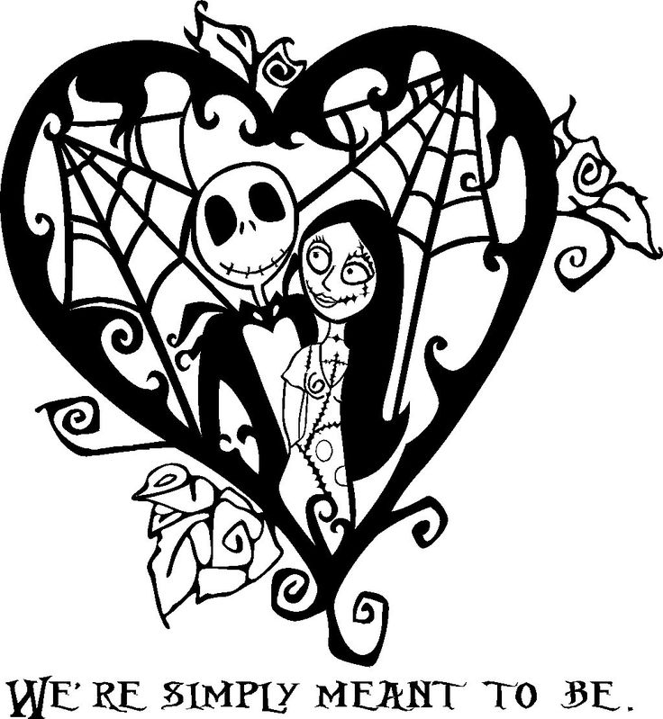 Nightmare Before Christmas jack and sally heart vinyl ...