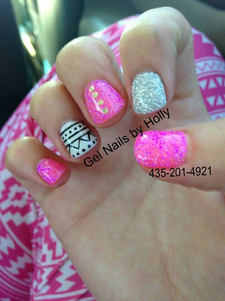 aztec gel nails hot pink gel nails silver gel nails