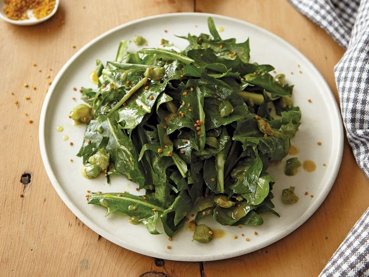 Puntarelle and Dandelion Green Salad (puntarelle is chicory)