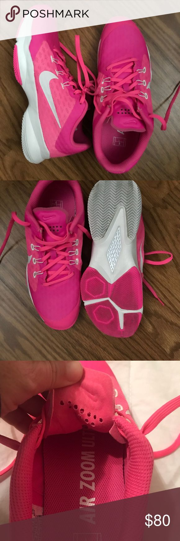 Mike Tennis Court Shoes 6.5 Air Zoom Ultra by Nike.  Size 6.5.  Bright Pink. Only worn on the court one time.  They are too big for me. Can't take back to he store as I wore them outside one time and also other store is 3 hours from me.   The most super light court shoe I have ever put on.   Retail $120.  Asking 80 Nike Shoes Athletic Shoes