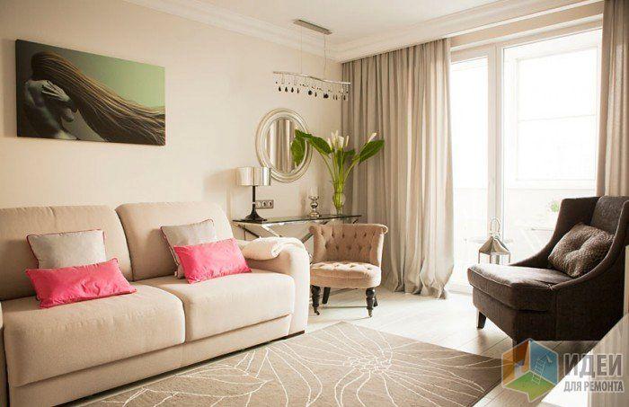 """- Окна в пол выглядят очень по-европейски, и значительно увеличивают количество света; - Радиаторы отопления спрятаны за шторой на стене; - Розовые подушки в качестве цветового акцента можно по настроению менять на элементы других цветов; - Картина уменьшает """"зефирность"""" интерьера."""