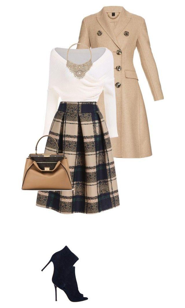 """Vintage Plaid Midi Skirt"" by perlarara ❤ liked on Polyvore featuring Burberry, Gianvito Rossi, Bebe, Fendi and vintage"