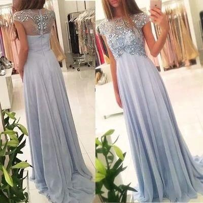 light blue Prom Dresses,cap sleeves Prom Dress,Dresses For Prom,long Prom Dress,beaded Prom Dress,BD2730
