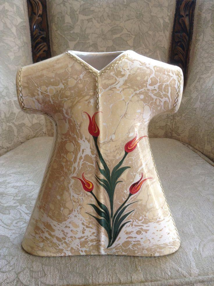 Seramik üzerine Ebru çalışması
