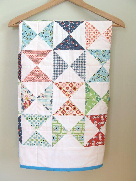 Hourglass Quilt / Vintage Quilt / Blanket / Patchwork by SetCarre, $98.00
