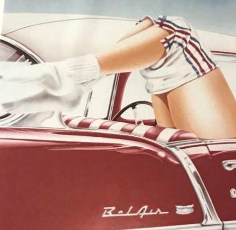 Art print; A. Daniels - klassieke auto Bel Air Pin up Girl - 1981  Afmetingen: 36 x 50 cm.met het frame: 68 x 54 cm.Conditie: goedVerzending: goed verpakt met aangetekende zending. Alan Daniels werd geboren in Stockport in het noorden van Engeland hij studeerde kunst aan het College of Art in Maidstone. Na zijn afstuderen reisde hij door Europa. Hier ontdekte hij zijn liefde voor het schilderen van hemelse Hussys aanvankelijk in een sexy Alice Wonderland-reeks en vervolgens in een…