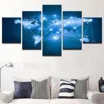 World Map Canvas Art, World Map Wall Art, Constellation World Map Canvas Print, World Map Wall Decor, World Map Framed Canvas Art