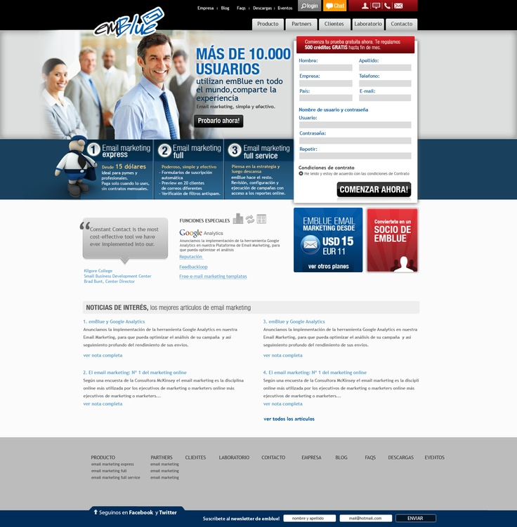 Diseño de sitio web para emBlue