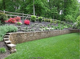 Retaining wall and landscaping to prevent erosion