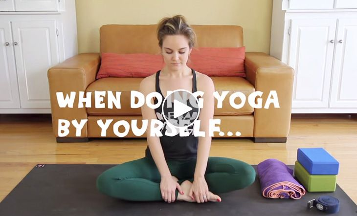 Does this look familiar? We've all been there: all ready to settle in to a nice, balanced yoga practice at home by yourself, complete with props, a metic