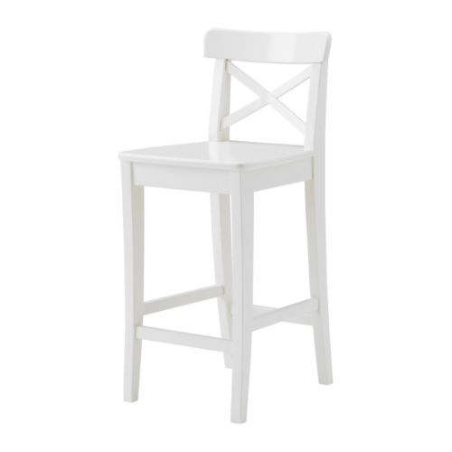 "with bar table in basement for crafts, games, snacks...INGOLF Bar stool with backrest - white, 29 1/8 "" - IKEA"