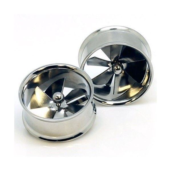 Stainless Steel Spinner Pinwheel Double Flared Ear Gauge Plug Tunnel... ❤ liked on Polyvore featuring jewelry, earrings, stainless steel jewelry, stainless steel earrings, body jewellery, stainless steel body jewelry and stainless steel jewellery