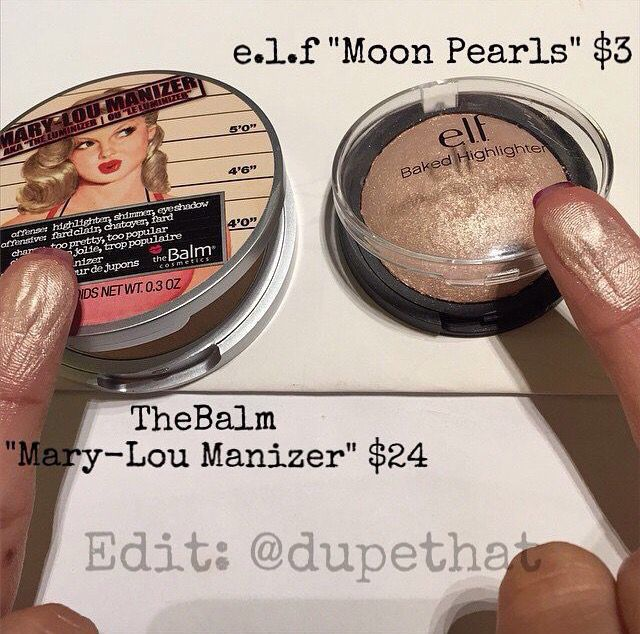 theBalm Mary-Lou Manizer vs. e.l.f. Baked Highlighter in Moonlight Pearls