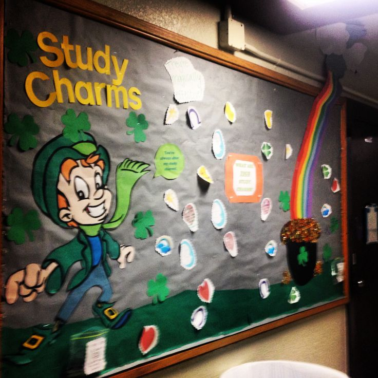 Ra bulletin board month of March! Study charms!