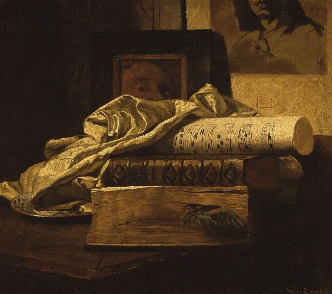 Stilleven met boeken en muziekpapier, Willem de Zwart, c. 1882.