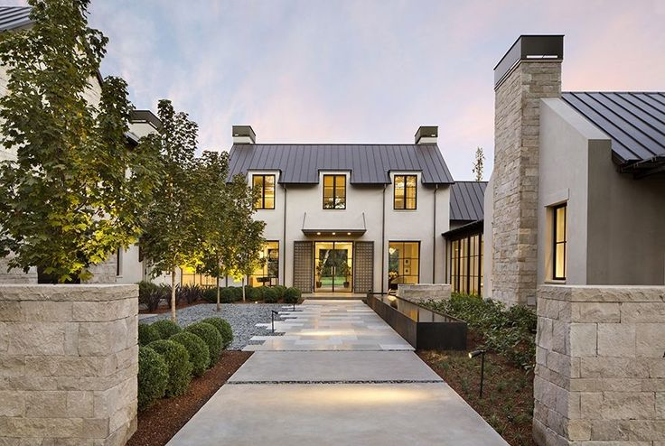 residential | Arcanum Architecture, Inc.--- Line of trees, with landscape lighting-- staggered edge of walk & straight edge