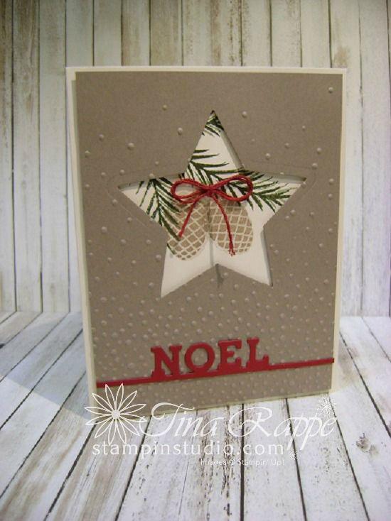Stampin' Up! Christmas Pines stamp set, Detailed Santa Thinlits Die, Star Framelits
