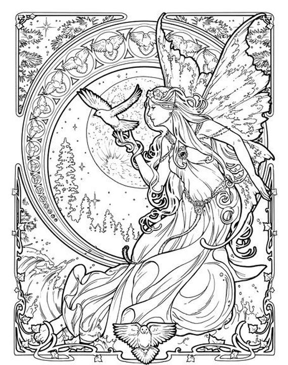queen of dreams goddess challenging coloring pages for adults - Challenging Dragon Coloring Pages