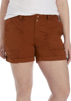 True Craft Women's Plus Size Utility Shorts – Copper – 18