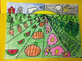 First grade worked on one point perspective. We concentrated on the vanishing point, the horizon line, and how objects are big when they are...