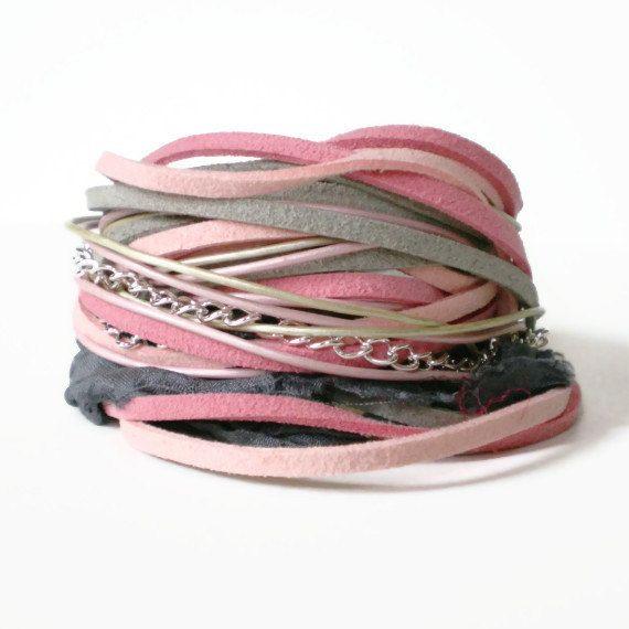 bracelet en cuir Bohème de la pellicule, ruban, daim, rose, gris, bascule, triple enveloppe