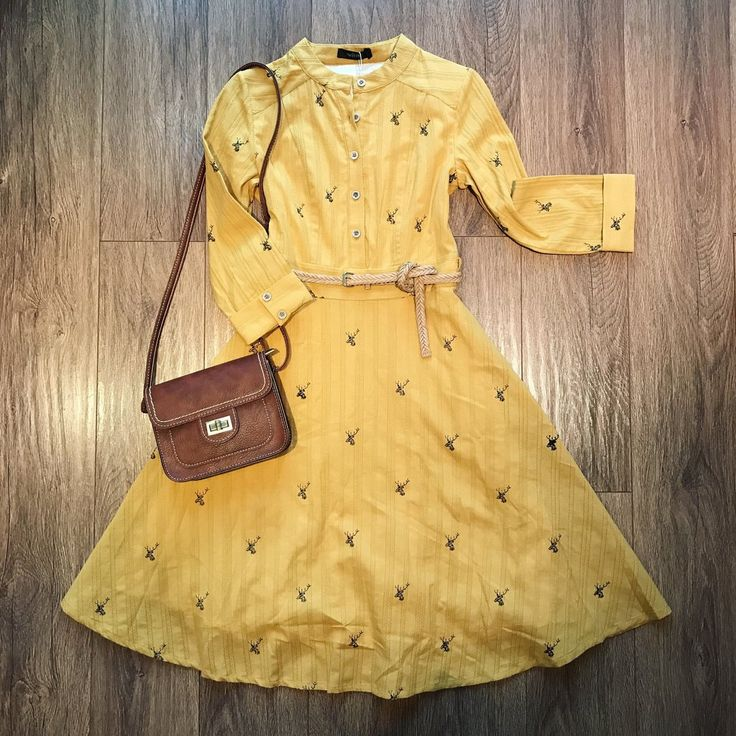 Yellow Belted Cotton Shirt Dress