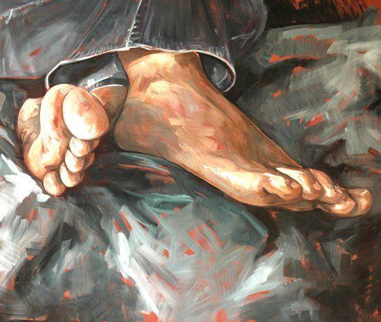 """http://www.piziarte.net/  #Opera #presente NEL #MAGAZZINO_DI_PIZIARTE  #ERICA_CAMPANELLA """"Feet #5, 2006 olio su tela cm 100 X 80  #artecontemporanea #contemporaryart #artist #artista"""