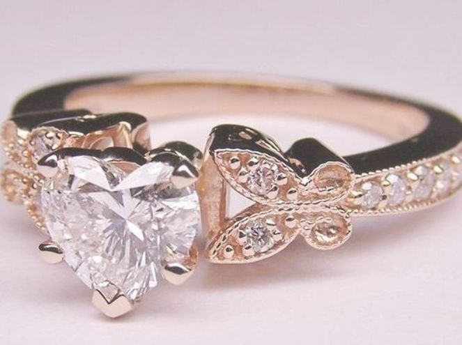 Heart Butterfly Vintage Diamond Bridal Set April Ring Image 2 Heart Shaped Engagement Rings Heart Engagement Rings Vintage Engagement Rings