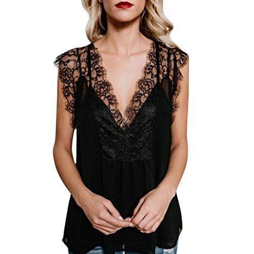 Femmes Débardeur Dentelle Sans Manches Tops V Cou Creux en Mousseline de Soie Cami Blouse Crop Top T-Shirt ELECTRI (M, Sexy Noir) #Femmes #Débardeur #Dentelle #Sans #Manches #Tops #Creux #Mousseline #Soie #Cami #Blouse #Crop #Shirt #ELECTRI #Sexy #Noir)