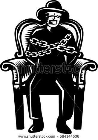 Illustration of a man in hat blindfolded and gagged and duct tape over mouth and bound in chains sitting on grand arm chair viewed from front set on isolated white background.   #captive #woodcut #illustration